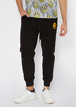 Black Sherpa Drippy Smiley Embroidered Joggers