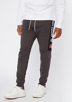 Charcoal Drip Sherpa Lined Joggers