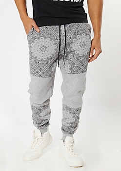Heather Gray Bandana Colorblock Joggers