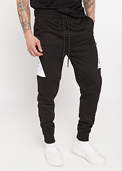 Black Space Dye Side Panel Twill Joggers