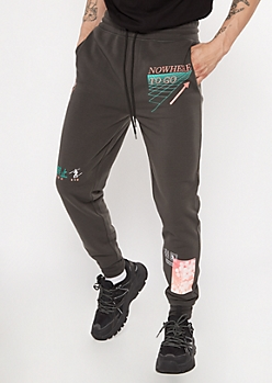 Charcoal Gray Doodle Print Graphic Joggers