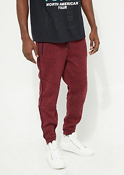 Burgundy Piped Marled Soft Joggers
