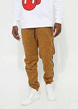 Mustard Marled Piped Fleece Knit Joggers
