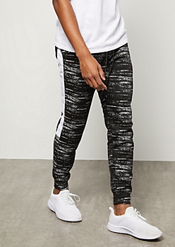 Black Space Dye Side Striped Tech Joggers