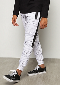 White Space Dye Side Striped Tech Joggers