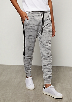 Gray Space Dye Side Striped Tech Joggers