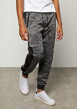 Black Space Dye Colorblock Side Striped Tech Joggers
