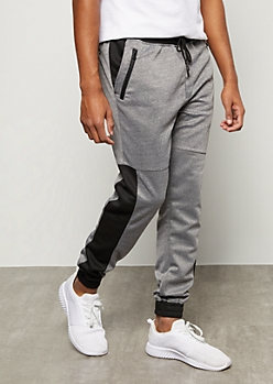 Gray Marled Colorblock Side Striped Tech Joggers