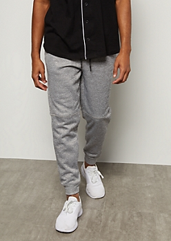 Heather Gray Marled Moto Knee Tech Joggers