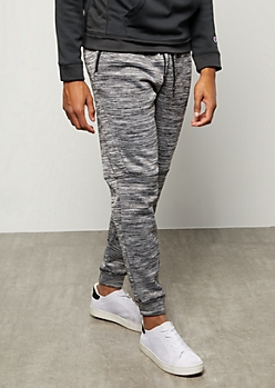Charcoal Gray Space Dye Moto Knee Tech Joggers