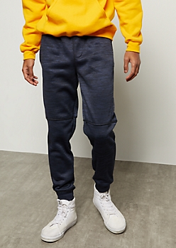Navy Space Dye Moto Knee Tech Joggers