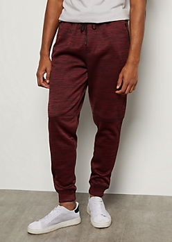 Burgundy Space Dye Moto Knee Tech Joggers