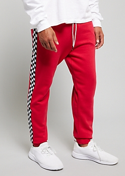Red Checkerboard Pattern Fleece Lined Joggers