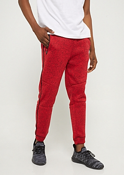 Red Marled Fleece Joggers