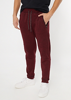 Red Marled Tech Moto Joggers