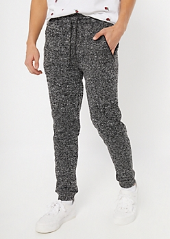 Black Marled Tech Moto Joggers