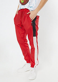 Red Side Striped Track Joggers
