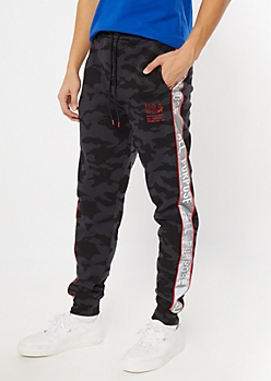 Black Camo Print Reflective Side Striped Joggers