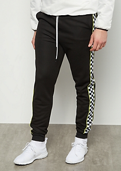 Black Checkered Print Side Striped Athletic Joggers