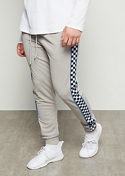 Gray Checkered Print Side Striped Athletic Joggers