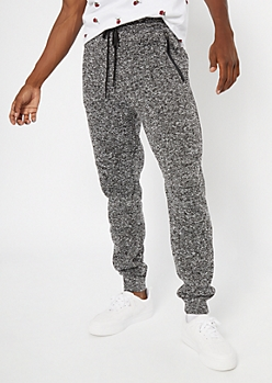 Black Marled Tech Joggers