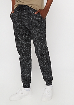 Black Marled Sherpa Lined Joggers