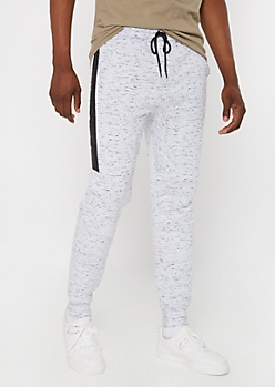 White Marled Sherpa Lined Joggers