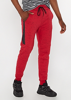 Red Marled Sherpa Lined Joggers