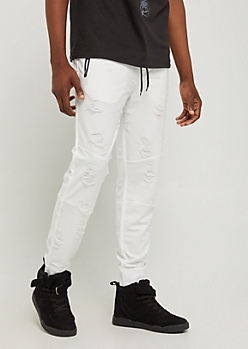 White Distressed & Frayed Joggers