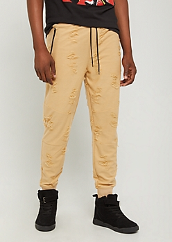 Sand Distressed Joggers