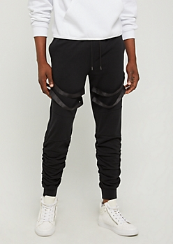 Black Strapped Joggers