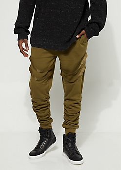 Olive Strapped Joggers