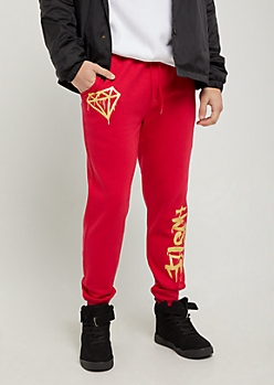 Red Gold Foil Hustle Joggers