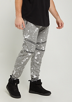 Gray Paint Splattered & Zipped Moto Joggers