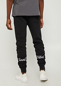 Black Good Vibes Fleece Joggers