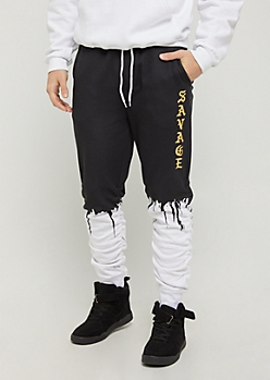 Savaged Paint Drip Scrunched Joggers
