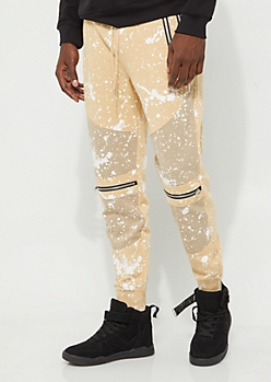 Sand Double Zip Splattered Moto Joggers