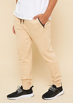 Sand Zipper Pocket Knit Athletic Joggers