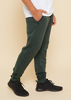 Hunter Green Zipper Pocket Knit Athletic Joggers
