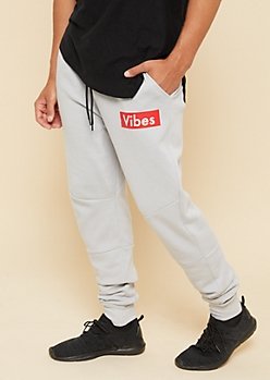 Light Gray Tech Zipper Pocket Vibes Athletic Joggers