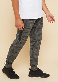Black Space Dye Tech Pocket Knit Athletic Joggers
