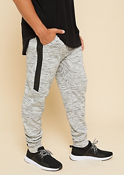 Gray Space Dye Tech Pocket Knit Athletic Joggers