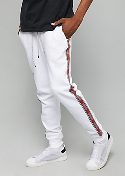 White Savage Side Striped Fleece Joggers
