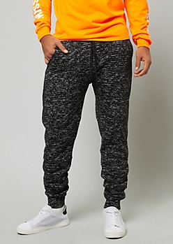 Black Space Dye Sherpa Side Zip Joggers