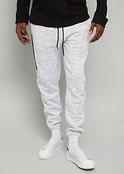 White Space Dye Sherpa Lined Zip Pocket Joggers