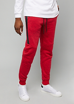 Red Space Dye Sherpa Lined Zip Pocket Joggers