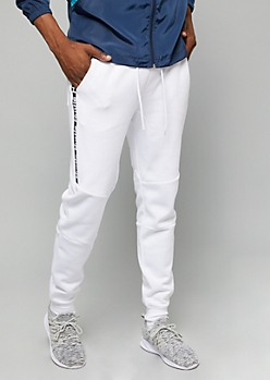 White Hustle Faux Zip Side Fleece Joggers
