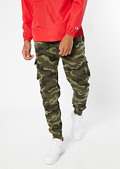 Camo Print Cargo Pocket Fleece Joggers