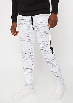 White Space Dye Side Striped Athletic Joggers