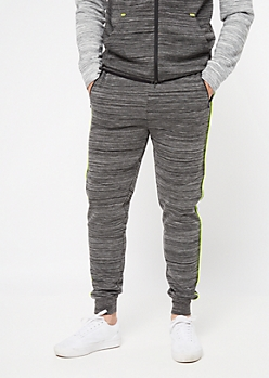 Black Space Dye Neon Striped Joggers